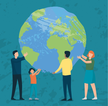 Illustration of people holding up the world