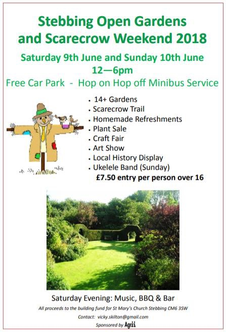 Stebbing Open Gardens and scarecrow