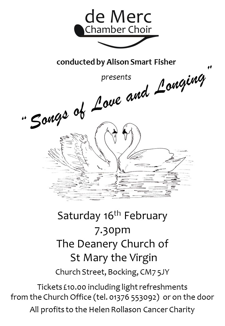 Songs of Love and Longing - concert by de Merc Chamber Choir at St Mary's, Bocking