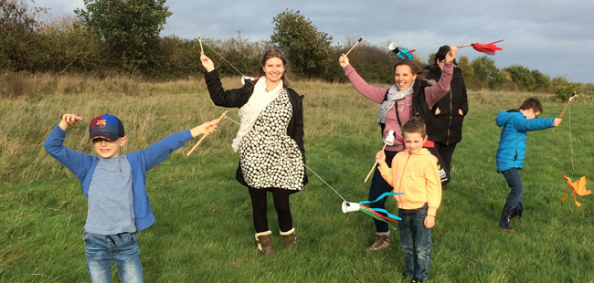 Flying kites at Colchester Pioneer Hub